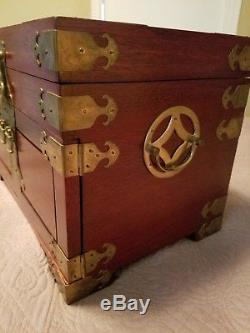 Vintage LARGE Asian Chinese Oriental Wood & Brass Jewelry Box 14X10X9 Teak
