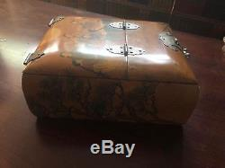 Vintage Lacquer Wood Chinese Cosmetic Folding Mirror Draw Jewelry Vanity Box