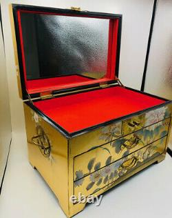 Vintage Large Chinese 24 k Gold Leaf Black Lacquer Wood 3 Area Jewelry Chest