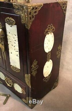 Vintage Large Chinese Jade and Rosewood Jewelry Box with Lock & Key