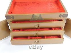Vintage Mid Century Chinese Asian Lacquer Shell Soapstone Carved Jewelry Box 720