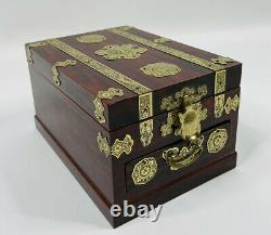 Vintage Mid Century Modern Oriental Chinese Lacquered Brass Jewelry Trinket Box