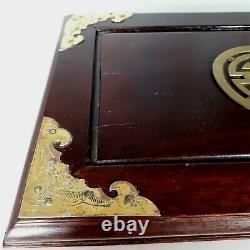 Vintage Ornate Chinese Rosewood Jewelry Box Large Brass w 3 Red Satin Drawers
