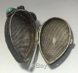 Vintage Pill Box Poison Sterling Silver Hand Paint Chinese Japanese Oriental 8gr