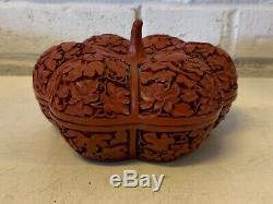 Vintage Possibly Antique Red Cinnabar Hand Carved Pumpkin Jewelry Box