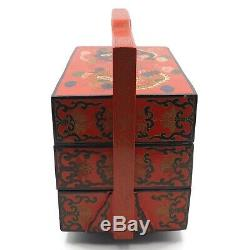 Vintage Red Lacquer Chinese Oriental Motif 3 Tier Handled Jewelry Trinket Box