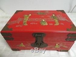 Vintage Red Lacquer Mother of Pearl Chinese Oriental Jewelry Box