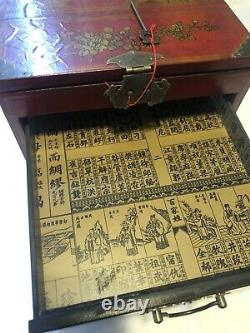 Vintage Red Lacquer Wood Chinese Cosmetic Jewelry 3 Draw Box With Fold Away Mirror