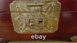 Vintage Shanghai CHINESE Rosewood And JADE Jewelry Box Brass Hardware