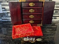Vintage Shanghai, China #302 Rosewood Jewelry Box, Inlaid Jade and Brass Detail