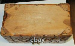 Vintage Small Chinese Hand Carved Wooden Jewelry Chest Box