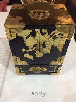 Vintage, old Chinese Jewellery Wardrobe / Box, black Laquered, brass, mother Of