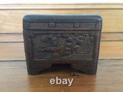 Vtg Antique 30s Asian Hand Carved Dark Wood 3 Compartment Jewelry Trinket Box