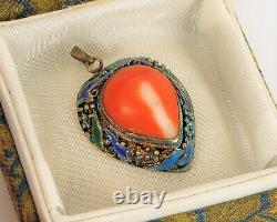 Vtg Beautiful Chinese Export Sterling Silver Red Coral Pendant Enamel In Box