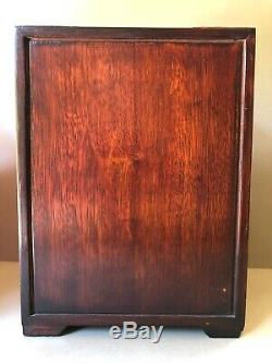 Vtg CHINESE STAINED WOOD And BRASS Hardware FIVE DRAWER JEWELRY BOX CHEST Lined