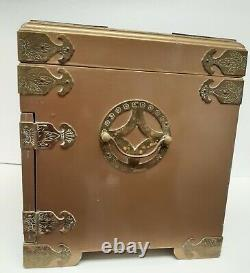 Vtg Chinese Asian Lacquered Jewelry Abalone Geishas Multi Drawer Large 14x10
