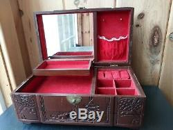 Vtg Chinese Carved Wood Jewelry Chest Box