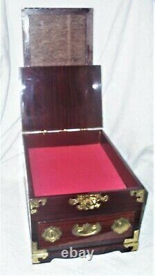 Vtg Chinese red brown lacquered handmade wood vanity jewelry box with mirror euc