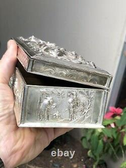 WONDERFUL OLD CHINESE EXPORT STERLING SILVER CIGAR / JEWELRY BOX With DRAGONS