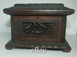 Wonderful Antique 19c Chinese Carved Hardwood Rectangular Jewelry Box-signed