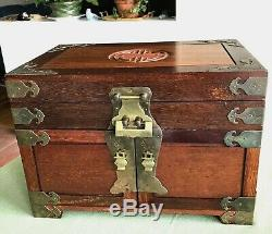 XLG Vtg Chinese Oriental Rosewood Jewelry Chest w LOCK 14x10x9 Bat Pulls 4 Trays